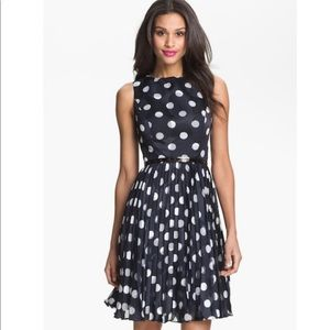 Adrianna Papell Burnout Polka Dot Fit/Flare Dress